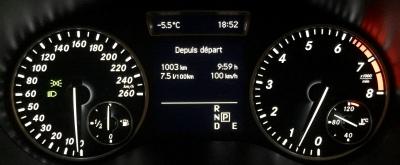Le panneau de contrôle nous indique un parcours de 1003 km en 9:59 H en une moyenne de 100Km/H avec une consommation de 7,5L/100km; Pas mal !!