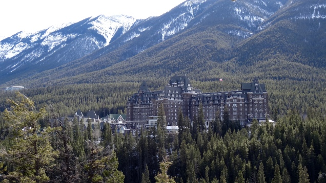 The Famous Fairmont Banff Spring Hotel hanging in the Rockies over the Bow River