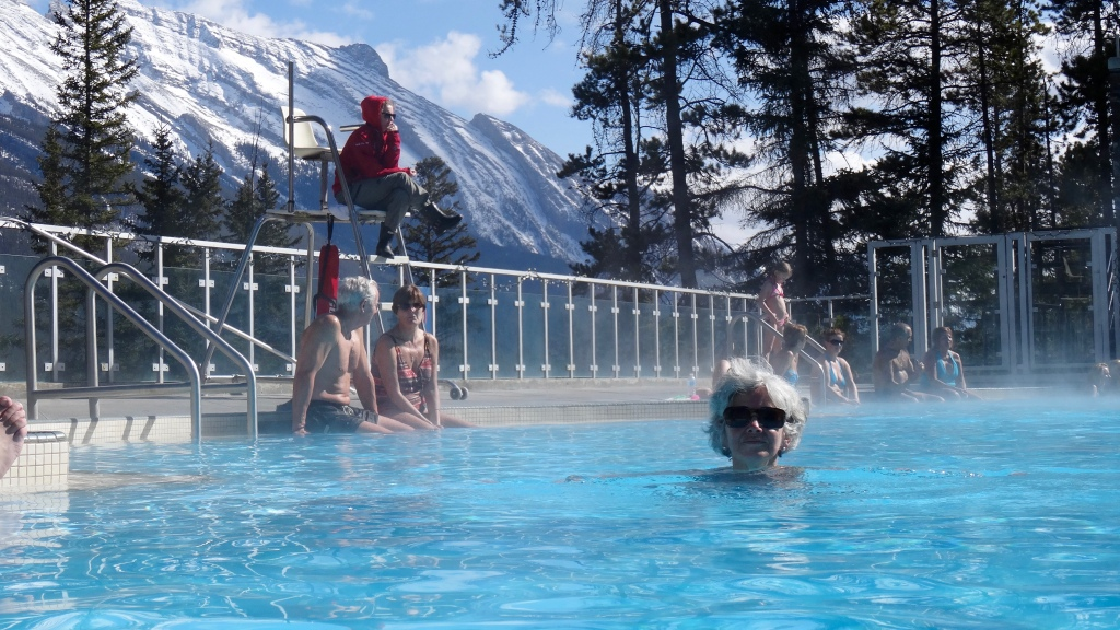 Soaking in the Banff Upper Hot Springs at Sulphur Mountain